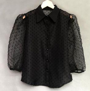 2021 New Summer Chiffon Shirt Male Transparent Sexy Beading Blowing Women's Shirts Mrs. Blusa Clothes T0sl