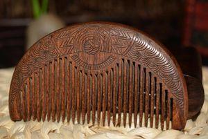ZGTGLAD Cep Ahşap Tarak Doğal Altın Sandal Ağacı Süper Dar Diş Ahşap Tarak Çift Yan Kazınmış Küçük Tarak Saç