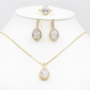 Vic doria 585 gold zircon necklace earrings ring set rose gold bride necklace earrings ring stylish women's holiday party je uP87#