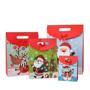 New Christmas gift bag Cartoon Snowman Flip Velcro package Candy Kraft Paper Bag Wedding Dragee Gift Box Cookie Gift Bags Wrapping Supplies