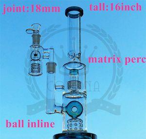 16 pouces Klein Glass Bong Klein Huile Huile Pièces Vortex Dab Resigues Verre Recycler Tuyau d'eau Taille de l'eau 18mm Planches de boule Séparation de la vie Perc Bong
