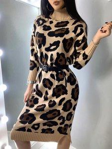 Taotrees otoño vestido de cuello alto de punto del leopardo del remiendo del suéter de las mujeres sin la correa C1009