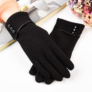 خمسة أصابع قفازات الإناث قفاز للنساء الشتاء الكشمير الحفاظ على القيادة الدافئة الإصبع الكامل لمس الشاشة الهاتف زر الديكور