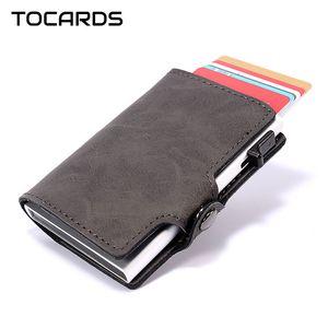 RFID Блокировка мужские Смарт кошелек держатель алюминиевый металл Бизнес ID кредитной карты Тонкий Card Case Mini Держатель карты Тонкий кошелек для мужчин