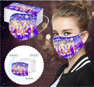 Erwachsene Gesichtsmasken Happy New Year Print Mundabdeckung 3 Layered Einwegmasken Staubdicht Atmungsaktive Schutzmaske Einwegmaske GWB3401