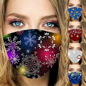 Merry Christmas face mask kids Santa Claus Gift Snowflake Child Print Cartoon designer face mask Breathable Dustproof adult facemask