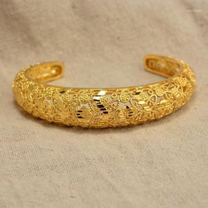 Annayoyo 24k Dubai Gold Farbe Armreifen Für Frauen Äthiopische Armbänder Naher Osten Hochzeit Schmuck Afrikanische Geschenke1