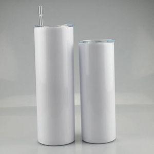 EM LINHA RETA! 15oz 20oz 30oz sublimação de tumblers magros em branco com garrafas de aço inoxidável palha Double Isoled Copos de escritório