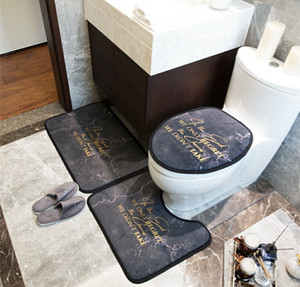 Black Designer Toilet Seat Covers Sets Indoor Door Mats U Mats Sets Eco Friendly Bathroom Creative Accessories