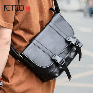 HBP AETOO Leather postman bag, men's cowhide street trend one-shoulder bag, casual men's bag
