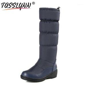 TASSLYNN 2020 Femmes Chaussures Hiver Coins d'hiver Bottes à mi-veau Femmes Toile ronde Peluche Bande élastique Plate-forme Down Snow Boots1