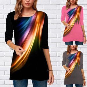 Blusa casuale Mujer O Cuello manga larga Estampada suelta Camisa de talla grande Blusa de fondo Blusa de moda para mujer Y200402 86KL #