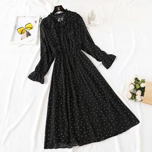 BGTeever Vintage Lace Up Baskılı Elbise Kadın Ruffles Şifon Kadın Maxi Elbise Astar Zarif Parti Vestidos Femme 2019 Sonbahar C0122