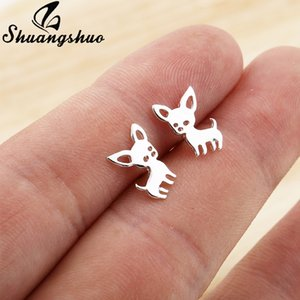Shuangshuo New Arrival Chihuahua Stainless Steel Earrings for Women Cute Dog Studs Chihuahua Jewelry Love My Pet Animal Earrings