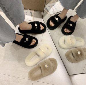 FashionUnisexBedroomSlipperFashionFurWarmShoesMenFurrySlidesClassicSliponFlatsWomanSandalsNew