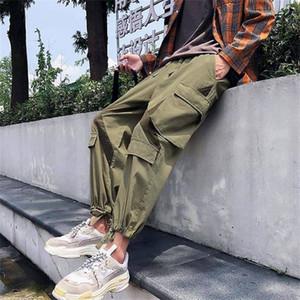 남성 청소년 브랜드 조깅 사이드 바지 스트리트 힙합 캐주얼 느슨한 패션 스타일 가을 남성 카고 바지 스트리트을 포켓