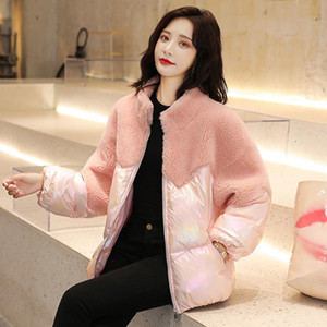 The glossy cotton-padded jacket female brief paragraph with thick cotton-padded clothes lamb fur splicing cotton-padded jacket coat out wash