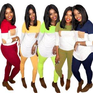 Kadın Pachwork Spor Setleri Uzun Kollu Ekip Boyun Tshirt Ince Pantolon Bayanlar İki Parçalı Setleri