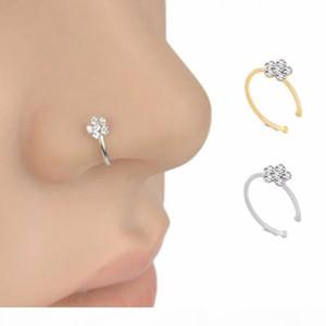 Moda Piercing Nariz Anillo Indio Flower Nariz Stud Hoop Septum Clicker Piercing Nariz Clip Anillos Cuerpo Piercing Joyería