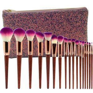 17 wooden handle makeup brushe diamond set Eye Brush beauty tools fan powder eye shadow contour beautiful color for make up tool