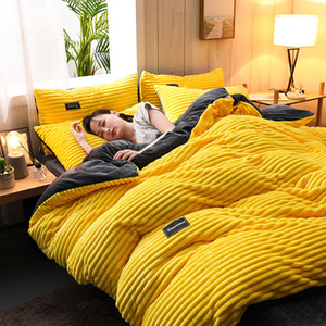 Thickened flannel 4pcs bedding set luxury king size comforter set bed sets coral Plush duvet cover bed sheet warm winter 201127