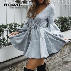 VIEUNSTA New Mulheres V Neck Ruffle camisola de malha Vestido Outono Inverno Lace Up vestidos curtos Casual manga comprida Sólidos A-Line Vestido C1009
