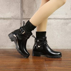 2020 short tube shiny women's boots ladies PVC elastic rubber shoes U-shaped water shoes new accessories rain boots in the tube