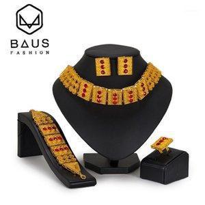 Boucles d'oreilles Collier Baus Luxury Dubaï Gold Color Bijoux Ensemble 2021 Perles African Set