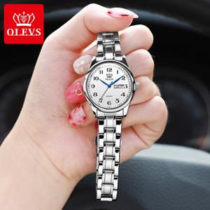 Olevs reloj de cuarzo de las señoras de la muñeca de moda impermeable lujo de las mujeres de acero inoxidable relojes Montre Femme 5567