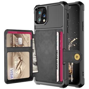 À prova de choque PU Leather Cartão Slots Carteira caso do iPhone para 12 Pro Max 11 Pro Max XS Max XR X 8 7 6 Plus