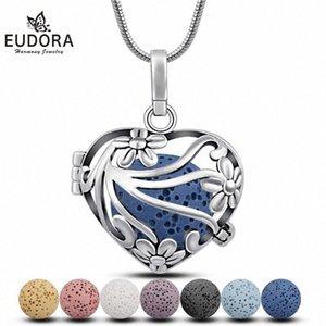 EUDORA 18mm çiçeği Kalp kafes kolye Yayıcı kolye Volkanik Lav Taş Topu DIY ince Takı H120 X4e8 # sığacak madalyon