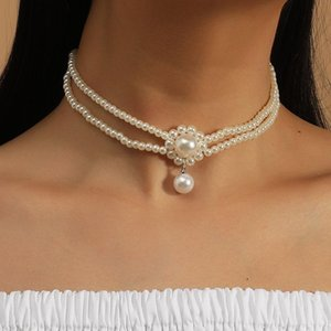 Fashion Double Layer White Simulated Pearl Chokers Necklaces For Women Trendy Handmade Beaded Pearl Flower Pendants Necklace