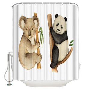 Koala Panda arbre Douche Illustration Feuilles rideau imperméable de bain en polyester rideau