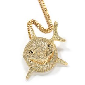 Полная кубическая Zircon акул кулон ожерелье для мужчин 6ix9ine хип-хоп блен ювелирные изделия с замороженным из Crystal Miami Cuban Link цепочка рыбы ювелирные изделия