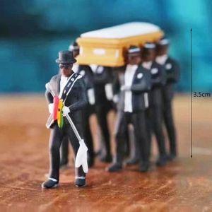 New 1:64 Simulation Ghana Funeral Coffin Tanzen Pallbearer Teammodell der vorzüglichen Kunstfertigkeit Action-Figur Auto-Dekor-Collect-Spielzeug