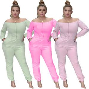 Women Designer Brand Fall Winter Sweatsuit 2 Piece Set T-Shirt+Pants Sports Suit Slash Neck Sportswear Solid Color Tracksuit Letter Suit
