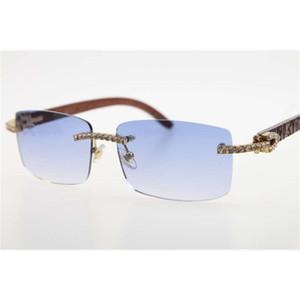 도매 새로운 3524012 새겨진 다이아몬드 선글라스 무선없는 나무 남성 돌 유니섹스 Wooen 안경 파란색 야외 운전