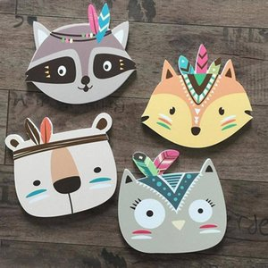 Nordic Bear 3D Wall Stickers For Kids Rooms Wall Stickers Nursery 3D Animals Sticker Scandinavian Feather