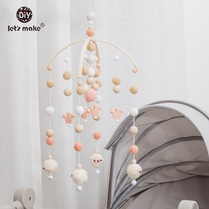 Let's Make 1pc Baby Mobile Wool Felt Balls Wooden Trojan Baby Shower Nursery Decor Hanging Pom Pom Garland Crib Hanging Bed Bell LJ201113
