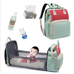 Mummy Diaper Backpacks Maternity Kid's Bed Handbags Retractable Large Capacity Maternity Backpack Outdoor Travel Nappy Handbags LSK1921