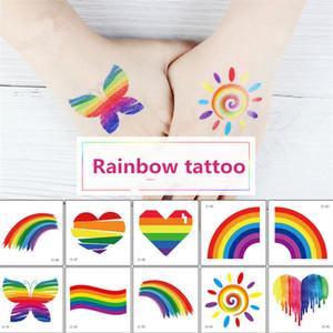 Rainbow Tattoo Sticker Waterproof Rainbow Tattoo Sticker Face Hand Sports Club Party Cosmetic Tattoo Body Art Temporary Sticker
