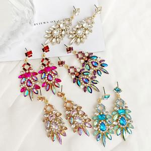 2020 New Women's Fashion Crystal Earrings vintage Rhinestone red Pink Glass Black Resin Metal Leaf Ear Earrings For Girl Jewelry