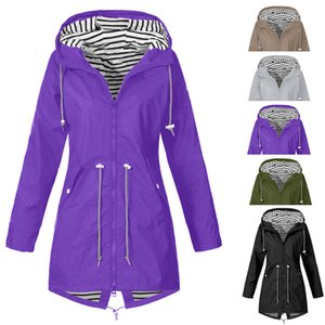 40 # 2021 Talla grande Senderismo Mujer Lluvia Jacker Outdoor Zippered Outwear Outwear Spring Otoño Chaquetas Abrigo