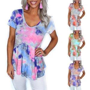 패션 숙녀 바닥 셔츠 기본 셔츠 캐주얼 여성 넥타이 염료 느슨한 셔츠 블라우스 인쇄 V 넥 짧은 소매 풀오버 탑스 1