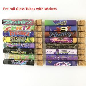 Tubi vuoti di vetro pre-roll con 16 tipi Adesivi Bianco Runtz Frotiez Zourz Zlatto Otai Miami Zourz 18 * 120mm Packaging Preroll