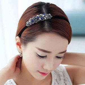 1pc Haimeikang élégant princesse strass en métal fleur feuille feuille hoop bandeau accessoires pour femme coiffe G2RX