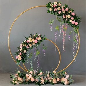 Wedding Decor Props Metal Circle Frame Backdrop Decora Marriage Arch Wrought Iron Shelf DIY Party Decoration Round Flower Stand 201023