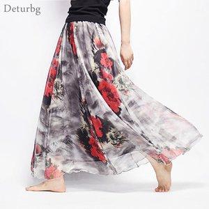 Skirts Women Fashion Florals Print Long Skirt Female Boho Style Elastic High Waist Chiffon Casual Beach Saias 19 Color Summer1