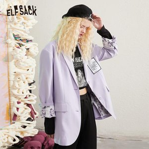 ELFSACK Lavender Sólidos Único Breasted coreana Blazer Mulheres Jacket 2020 Autumn ELF Pure Causal Feminismo Oversize diárias Outwears