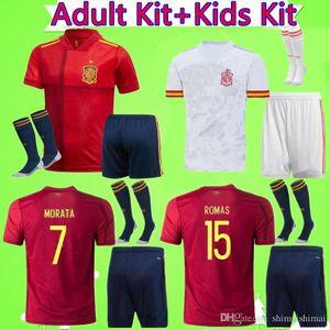 Взрослый + Kids Kit 2020 2021 Испания Футбол Джерси Ман Костюм 20 21 Camiseta De Futbol Asensio Morata Boys Set Футбольная рубашка ISCO Ramos Iniesta